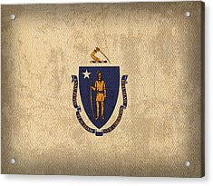 Massachusetts State Flag Art On Worn Canvas Acrylic Print by Design Turnpike