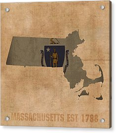 Massachusetts State Flag Map Outline With Founding Date On Worn Parchment Background Acrylic Print