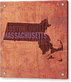 Massachusetts Word Art State Map On Canvas Acrylic Print by Design Turnpike