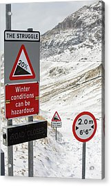 Massive Snow Drifts Blocking A Road Acrylic Print by Ashley Cooper