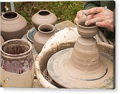 Master Potter Shaping Clay Acrylic Print by Dancasan Photography