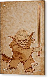 Acrylic Print featuring the painting Master Yoda Jedi Fight Beer Painting by Georgeta  Blanaru