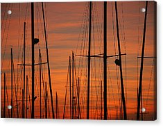 Masts At Sunset Acrylic Print