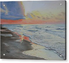 Acrylic Print featuring the painting Matagorda Beach Sunrise by Jimmie Bartlett