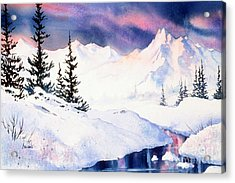 Acrylic Print featuring the painting Matanuska Sunset Impression by Teresa Ascone