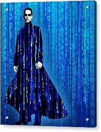 Matrix Neo Keanu Reeves Acrylic Print by Tony Rubino