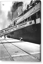 Matson Liner Departure Acrylic Print by Underwood Archives