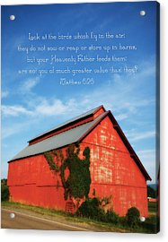 Matthew 6 26 Scripture Red Barn Acrylic Print by Denise Beverly