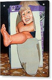 Matthew In A Box Acrylic Print by AnnaJo Vahle