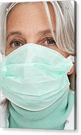Mature Female Doctor Wearing Surgical Mas Acrylic Print by Lea Paterson