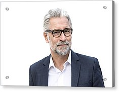 Mature Grey-haired Man In Suit Smiling Acrylic Print by Robin Skjoldborg