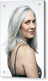 Mature Woman With Grey Hair In A 3/4 Position. Acrylic Print by Andreas Kuehn