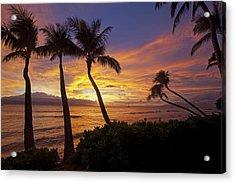 Maui Sunset Acrylic Print by James Roemmling