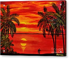 Maui Sunset Acrylic Print by Teresa Wegrzyn
