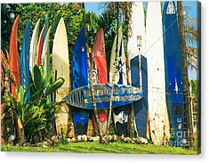 Maui Surfboard Fence - Peahi Hawaii Acrylic Print by Sharon Mau