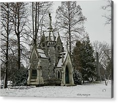 Mausoleum In Winter Acrylic Print by Kathy Barney