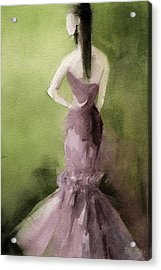 Mauve Evening Gown Fashion Illustration Art Print Acrylic Print by Beverly Brown