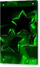 Max Two Stars In Green Acrylic Print by Rob Hans