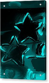 Max Two Stars In Turquois Acrylic Print by Rob Hans
