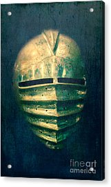 Maximilian Knights Armour Helmet Acrylic Print by Edward Fielding