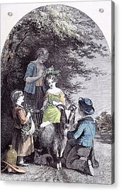 May G.w. Willis Children Goat Pastoral Spring Acrylic Print