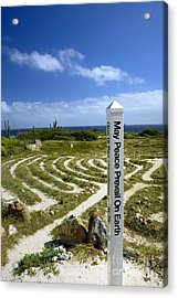 May Peace Prevail On Earth Peace Labyrinth Aruba Acrylic Print