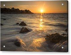 Mayan Coastal Sunrise Acrylic Print by Adam Romanowicz