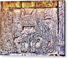 Mayan Hieroglyphic Carving Acrylic Print by Paul Williams