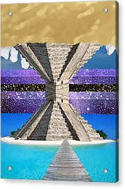 Mayan Temple Ships On 2 Worlds At Once Acrylic Print by Bruce Iorio