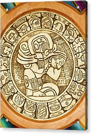 Mayan Woodcarving, Belize Acrylic Print by William Sutton