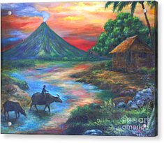mayon sunset-repro from Amorsolo's work Acrylic Print by Manuel Cadag