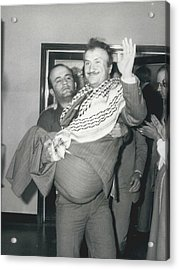 Mayor Of Israeli Occupied Nablus Arrives In London For Acrylic Print by Retro Images Archive