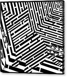 Maze Of Snarly The Cat Acrylic Print by Yonatan Frimer Maze Artist