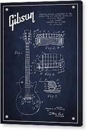 Mccarty Gibson Les Paul Guitar Patent Drawing From 1955 - Navy Blue Acrylic Print by Aged Pixel