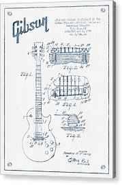 Mccarty Gibson Les Paul Guitar Patent Drawing From 1955 - Blue I Acrylic Print by Aged Pixel