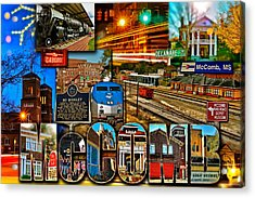 Mccomb Mississippi Postcard 2 Acrylic Print