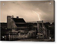 Mcintosh Farm Lightning Sepia Thunderstorm Acrylic Print by James BO  Insogna