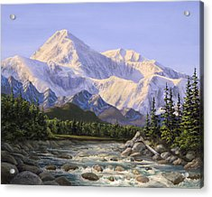 Majestic Denali Mountain Landscape - Alaska Painting - Mountains And River - Wilderness Decor Acrylic Print