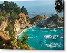Mcway Falls Along The Big Sur Coast. Acrylic Print by Jamie Pham