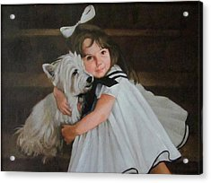 Me And My Scottie Acrylic Print by Janet McGrath