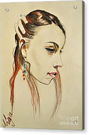 Acrylic Print featuring the drawing Me by Maja Sokolowska