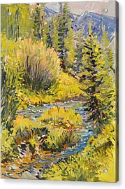 Acrylic Print featuring the painting Meadow Creek Montana by Steve Spencer
