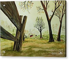 Meadow Fence Acrylic Print by Jack G  Brauer