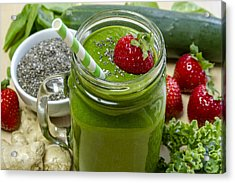 Mean Green Raw Food Smoothie Acrylic Print by Teri Virbickis