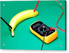 Measuring Resistance Of A Banana Food Physics Acrylic Print by Paul Ge