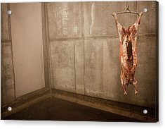 Meat Carcass In A Freezer, No People Acrylic Print