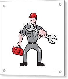Mechanic Punching With Spanner Cartoon Acrylic Print by Aloysius Patrimonio