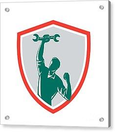 Mechanic Spanner Wrench Fist Pump Shield Acrylic Print by Aloysius Patrimonio