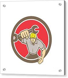 Mechanic Spanner Wrench Running Circle Retro Acrylic Print by Aloysius Patrimonio