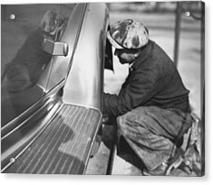 Mechanic Working On Car Acrylic Print by Underwood Archives